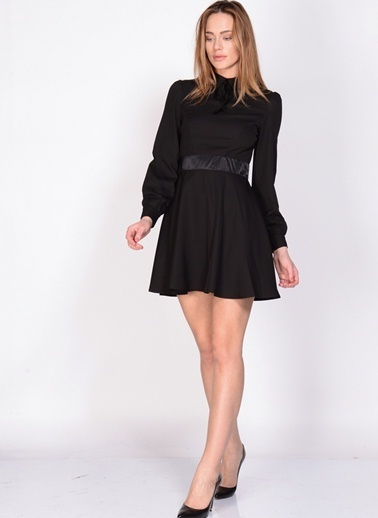 Fashion Uzun Kollu Mini Kloş Elbise Siyah